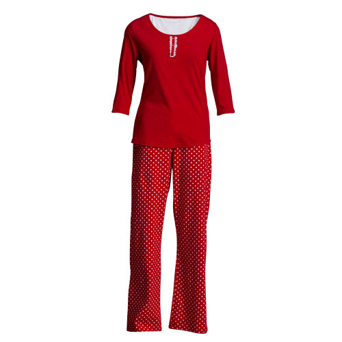 damen schlafanzug pyjama 2 teilig rot wei 100. Black Bedroom Furniture Sets. Home Design Ideas