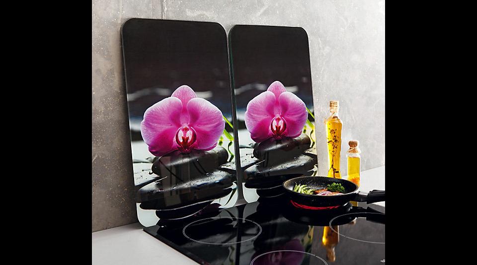 herd abdeckplatten orchidee ceran ceranfeldabdeckplatten spritzschutz glas neu ebay. Black Bedroom Furniture Sets. Home Design Ideas
